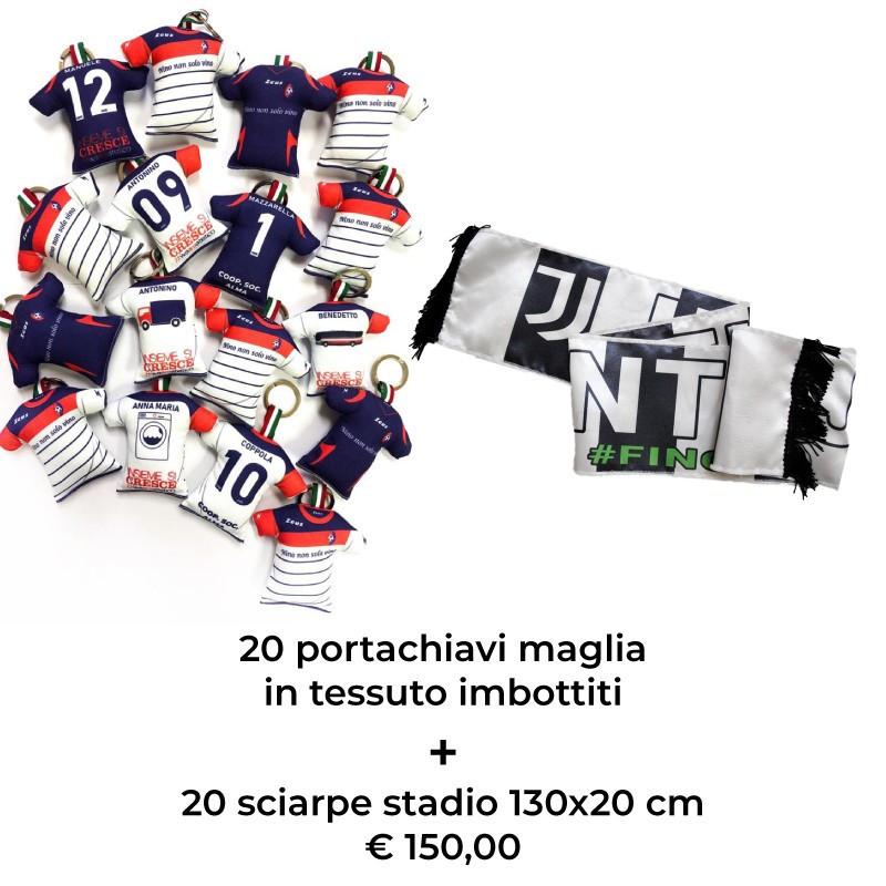 più nuovo di vendita caldo così economico all'avanguardia dei tempi 20 portachiavi maglia in tessuto + 20 sciarpe stadio 130x20 cm